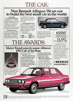 1983 RENAULT ALLIANCE Genuine Vintage Advertisement ~ 2-Door & Sedan $5,595