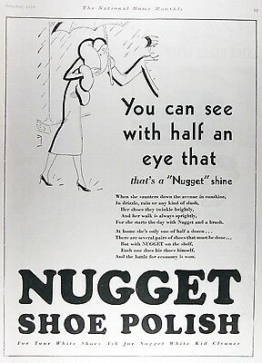 1932 NUGGET SHOE POLISH Genuine Vintage Advertisement ~ RARE CDN AD