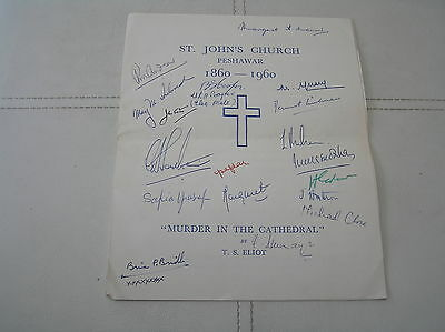 St John's Church Peshawar Murder In Cathedral T S Eliot Signed Programme