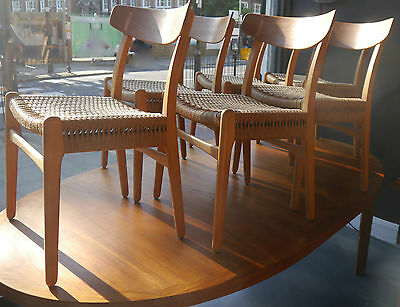 A vintage 1960s set of six Hans J Wegner CH 23 dining chairs