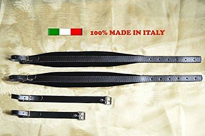 Accordion straps leather with black velour padding 6CM 100% made in Italy