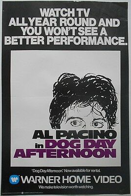 AL PACINO Dog Day Afternoon Very Rare Original 1980's Official VHS Video POSTER