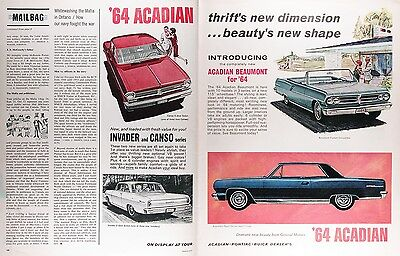 1964 ACADIAN BEAUMONT CANSO INVADER Vintage Advertisement ~ RARE CDN AD