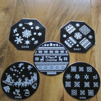 Christmas Nail Art Plate Stamp Decals Stamping Plate Stamper UK Seller