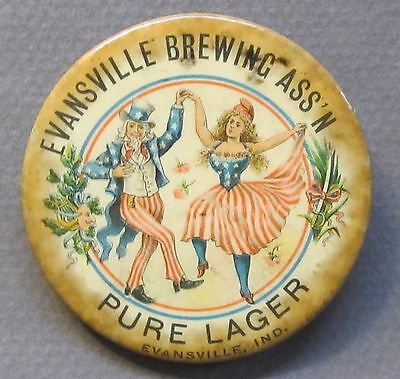 rare c. 1900 EVANSVILLE BREWING ASS'N PURE LAGER Indiana pocket mirror beer *