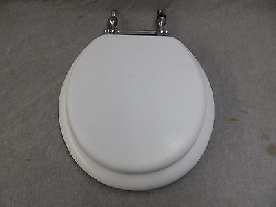 Vtg White Toilet Seat Lid Chrome Brass Hardware Hinge Old Bathroom 1991-16