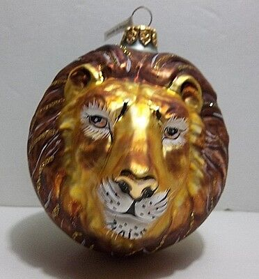 Vintage Blown Glass LION Christmas Tree Ornament Hand Painted