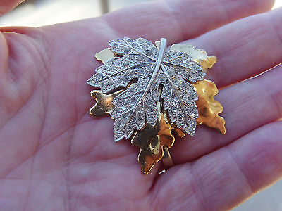 McCLELLAND BARCLAY Gold and Pave Maple Leaf  FUR / DRESS  CLIP ART DECO