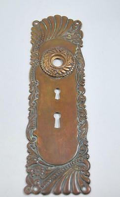 Antique Art Nouveau Brass Door Back Plate With Double Key Hole