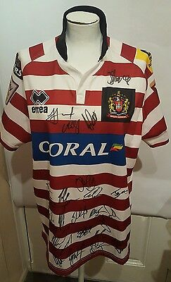 Wigan Warriors Multi Signed 2015-2016 Home Rugby League Shirt Errea Coral