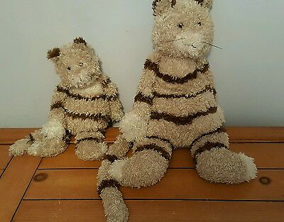 Pair of Jellycat Striped cats * Momma & Baby EUC Adorable long tails!