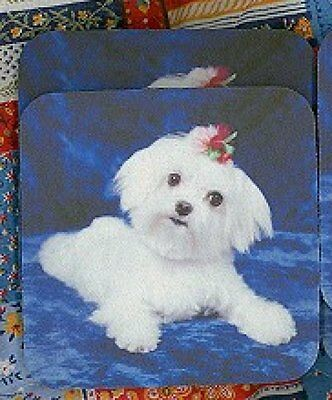 MALTESE PUPPY Rubber Backed Coasters #0968