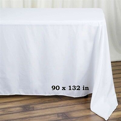 10 Pack 90x132 in. Polyester Rectangle Seamless Tablecloth~Wedding~NEW