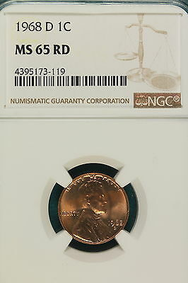1968-D NGC MS65 RED Lincoln Memorial Cent!! #A5527