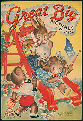 """UNCOLORED """"Great Big Pictures to Color"""" #3453A Merrill 1940 (4395)"""