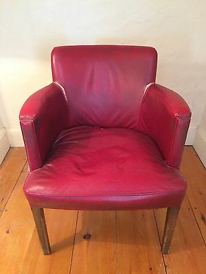 Red Leather Style Barrel Chair