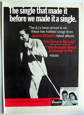 JACKIE WILSON 1968 Poster Ad FOR ONCE IN MY LIFE brunswick