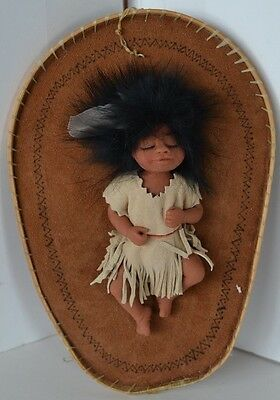 Vintage Handmade Papose Baby Indian Girl Doll Ooak Clay