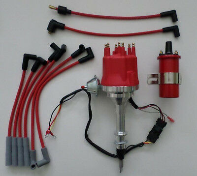 Small Cap AMC/JEEP INLINE 6 232-258 HEI Distributor +RED Plug Wires + 45K COIL