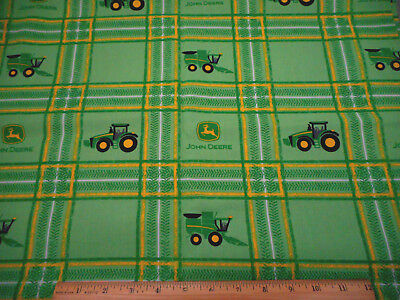 John Deere Ladies Fabric Deer Logo Plaid Pink Green White Farm