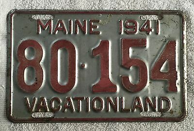 VINTAGE 1941 MAINE LICENSE PLATE TAG  Free Shipping!