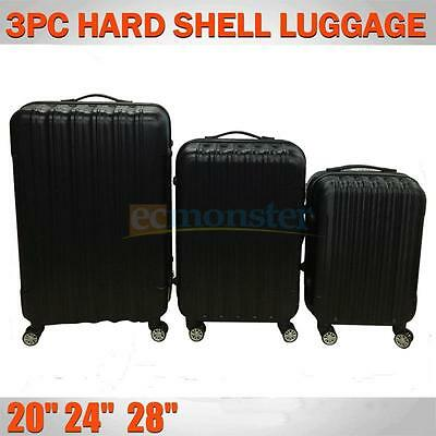 3PCS Luggage Travel Set Bags ABS Trolley Hard Shell Suitcase W/TSA lock Black