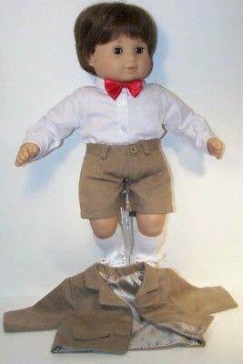LT BROWN Boy Suit WHITE Shirt BOWTIE Doll Clothes For Bitty Baby Boy Twin (Debs)