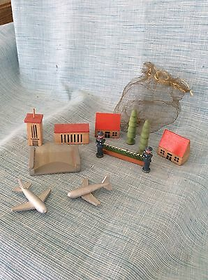 Antique German Erzgebirge Airport Houses Planes Christmas Village