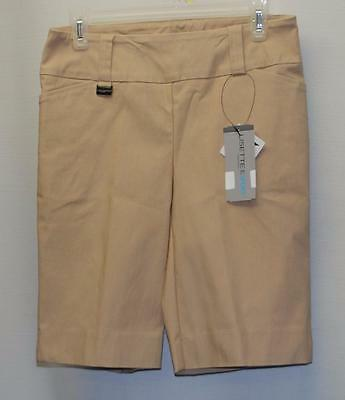 New Ladies SIZE 8 Lisette L Fit To Flatter Stretch Khaki Bermuda golf shorts