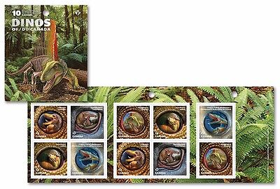 """xca.DINOSAURS, DINOS OF CANADA Booklet of 10  """"P""""-Stamps, MNH Canada 2016"""