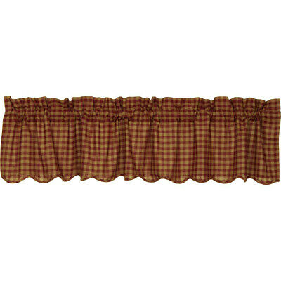New Primitive Country Homespun Check BARN RED CHECKED Scalloped Curtain Valance