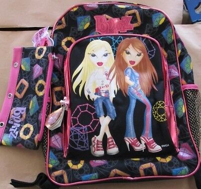 "New Nwt Cartoon Anime Mga Gem Bratz School 16"" Backpack Zipper Closure Book Bag"
