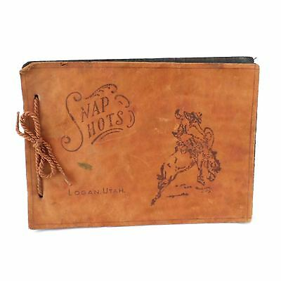 Vintage Snap Shots Leather Souvenir Photo Album Western Cowboy Logan Utah