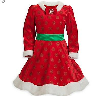 Minnie Mouse Santa Christmas Holiday Costume Dress Girl 6 Disney Parks Authentic