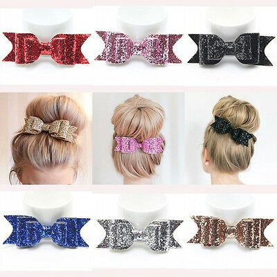Women Girls Bling Bowknot Hairpin Barrette Crystal Hair Clips Hair Accessories