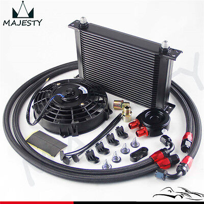 """25 Row AN8 Engine Oil Cooler / Filter adapter hose Kit + 7"""" Electric Fan"""