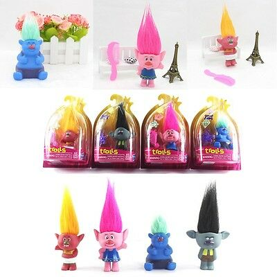 2016 New Dreamwork Movie Trolls Toys PVC Figures Poppy Branch Critter Troll Gift