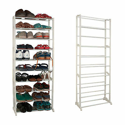 30 Pairs 10 Tier Portable Shoe Rack Stand Storage Organiser Free Standing Store