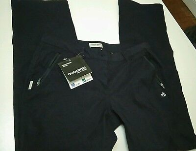 Craghoppers black Womens Pro Stretch trousers size 12 zip off legs, NEW