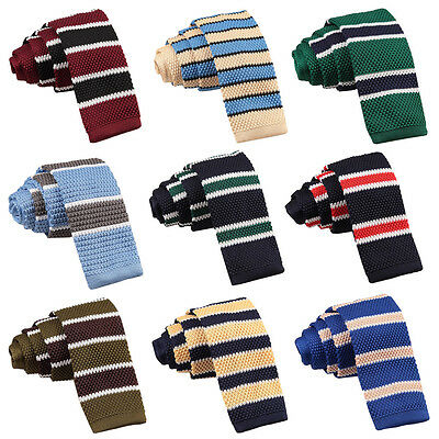 975e9ec1c0fd DQT New Knitted Necktie Thin Stripe Borders Casual Party Knit Men's Skinny  Tie
