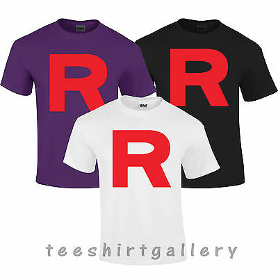POKEMON TEAM ROCKET R COSPLAY RETRO TOP POKEMON CARTOON KIDS LADIES T- Shirt Top