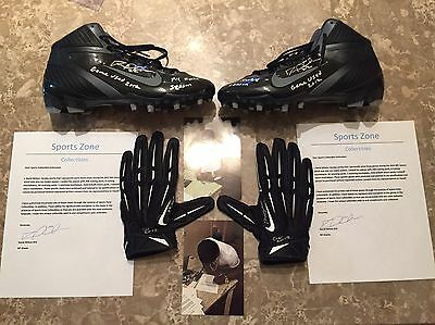 David Wilson Nfl NY Giants Game Used Gloves And Cleats Rookie Season Autographed