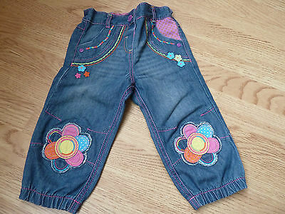Kids Child's Floral blue JEANS 3-4 years colourful George Clown Denim flowers