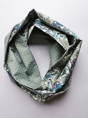 Infinity scarf. Liberty of London blue zoo and grey spotty cotton.