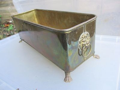 Vintage Brass Trough Tub Planter Plant Pot Garden Window Antique Lion Head