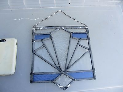 Vintage Stained Glass Window Hanger Panel Art Deco Period Architectural Antique