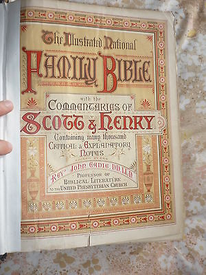 ANTIQUE National Family Bible-Scott+Henry Commentaries--Cassell+Co around 1860