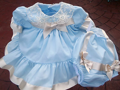 Dream Baby Boutique Spanish Blue Cream Frilly Netted Dress & Pants 0-3  6-12