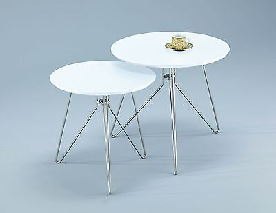 ASPECT Alegro Round Side/Coffee/End/Lamp Table Wood White Set of 2