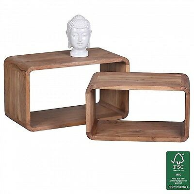 Wohnling wl1.538Side Table Solid Acacia Wood Nest of Tables Set of 2Cubes Cub...